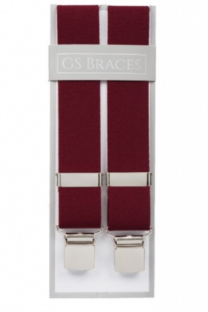 Plain Maroon Trouser Braces With Large Clips